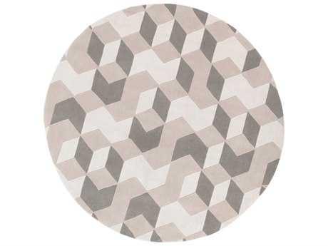 Surya Cosmopolitan 8' Round Cream, Khaki & Medium Gray Area Rug