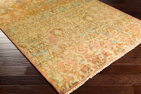 Surya Cheshire Rectangular Camel, Lime & Aqua Area Rug