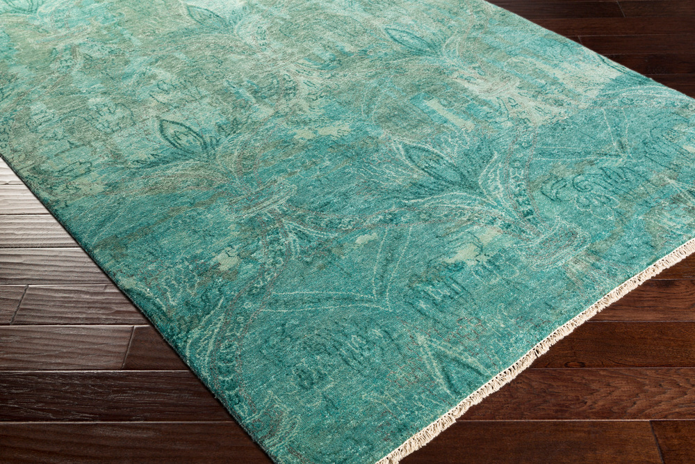 Surya Cheshire Rectangular Aqua Teal Amp Emerald Area Rug