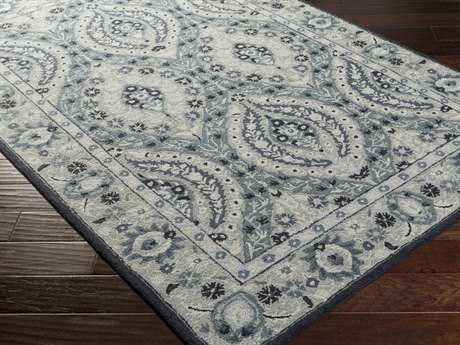 Surya Castille Rectangular Teal & Light Gray Area Rug