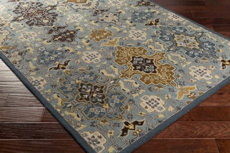 Surya Castille Rectangular Aqua, Denim & Dark Brown Area Rug