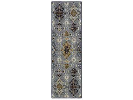 Surya Castille 2'6'' x 8' Rectangular Aqua, Denim & Dark Brown Runner Rug