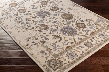 Surya Castille Rectangular Khaki, Dark Brown & Denim Area Rug