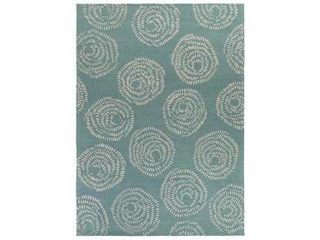 Surya Decorativa Rectangular Teal & Ivory Area Rug