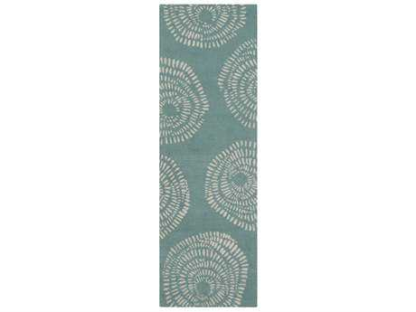 Surya Decorativa 2'6'' x 8' Rectangular Teal & Ivory Runner Rug