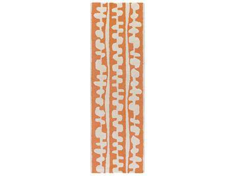 Surya Decorativa 2'6'' x 8' Rectangular Burnt Orange & Cream Runner Rug