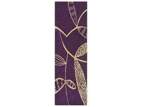 Surya Decorativa 2'6'' x 8' Rectangular Dark Purple & Ivory Runner Rug