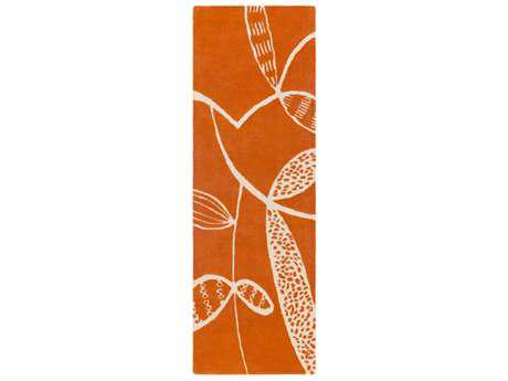 Surya Decorativa 2'6'' x 8' Rectangular Burnt Orange & Beige Runner Rug