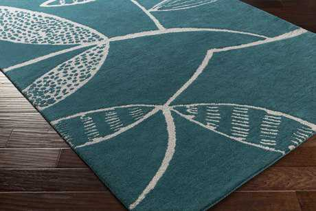 Surya Decorativa Rectangular Teal & Light Gray Area Rug
