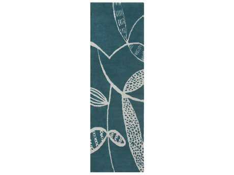 Surya Decorativa 2'6'' x 8' Rectangular Teal & Light Gray Runner Rug