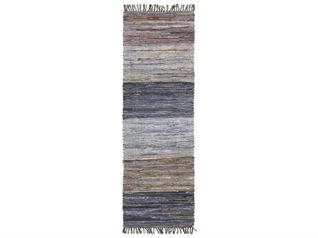 Surya Denim 2'6'' x 8' Rectangular Dark Blue & Camel Runner Rug