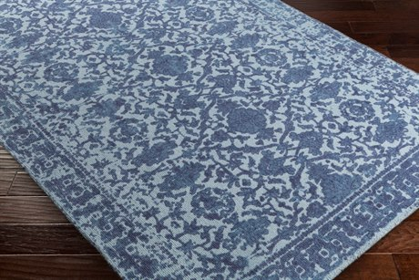 Surya D Orsay Rectangular Pale Blue, Denim & Violet Area Rug