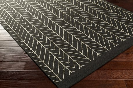 Surya Dasher Rectangular White & Black Area Rug