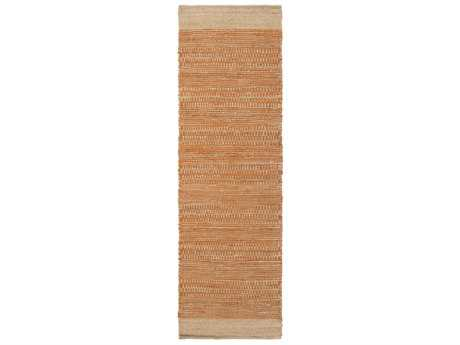 Surya Davidson 2'6'' x 8' Rectangular Bright Orange & Khaki Runner Rug