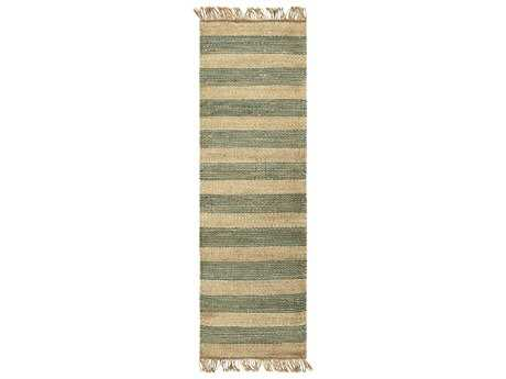 Surya Davidson 2'6'' x 8' Rectangular Teal, Cream & Khaki Runner Rug