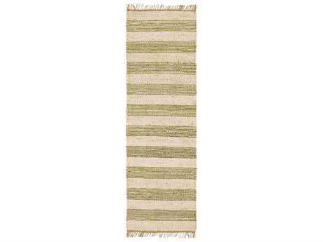 Surya Davidson 2'6'' x 8' Rectangular Grass Green, Cream & Khaki Runner Rug