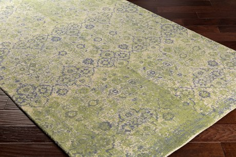 Surya Edith Rectangular Cream, Lime & Denim Area Rug