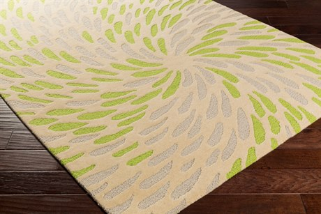 Surya Flying Colors Rectangular Cream, Light Gray & Lime Area Rug