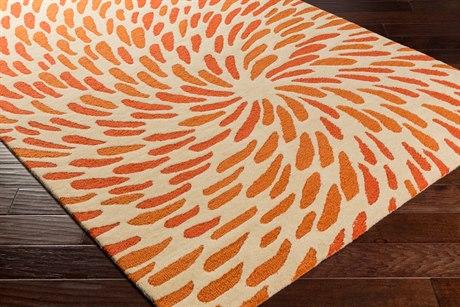 Surya Flying Colors Rectangular Cream, Burnt Orange & Bright Orange Area Rug