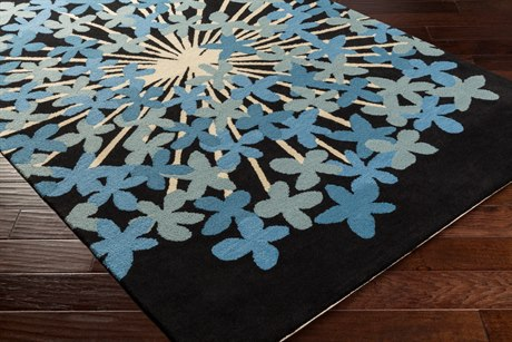 Surya Kismet Rectangular Black, Aqua & Sky Blue Area Rug