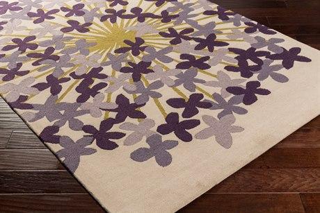Surya Kismet Rectangular Khaki, Dark Purple & Medium Gray Area Rug