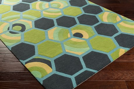 Surya Kismet Rectangular Charcoal, Aqua & Wheat Area Rug
