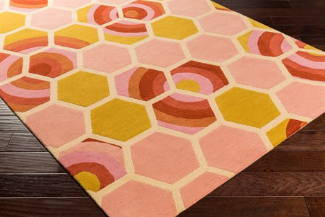 Surya Kismet Rectangular Coral, Butter & Bright Pink Area Rug
