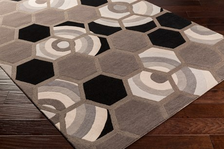 Surya Kismet Rectangular Black, Medium Gray & Light Gray Area Rug