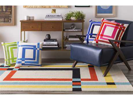 Surya Kismet Rectangular Cream, Black & Aqua Area Rug