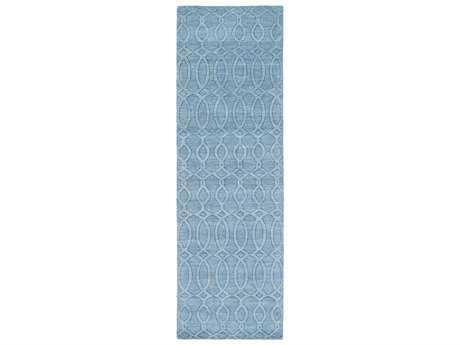 Surya Etching 2'6'' x 8' Rectangular Aqua Runner Rug