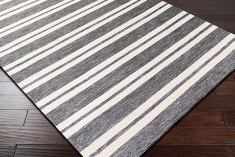 Surya Everett Rectangular Light Gray, Black & Cream Area Rug