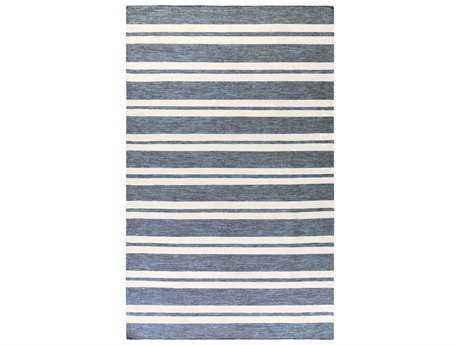 Surya Everett Rectangular Aqua, Dark Blue & Cream Area Rug