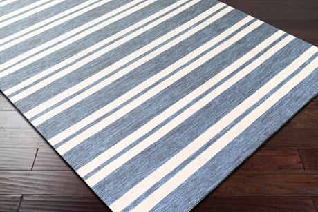 Surya Everett Rectangular Aqua, Dark Blue & Cream Area Rug