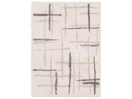 Surya Fanfare Rectangular White, Cream & Light Gray Area Rug