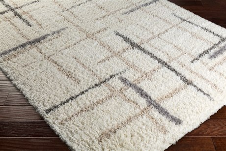 Surya Fanfare Rectangular White, Cream & Light Gray Area Rug