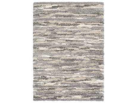 Surya Fanfare Rectangular Medium Gray, Dark Brown & White Area Rug