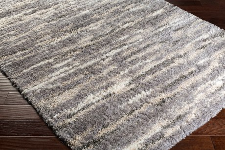 Surya Fanfare Rectangular Medium Gray, Dark Brown & White Area Rug