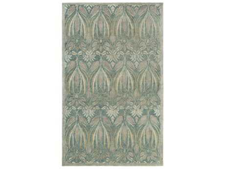 Surya Fitzgerald Rectangular Teal, Silver Gray & Ivory Area Rug