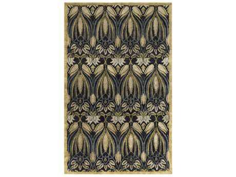 Surya Fitzgerald Rectangular Black, Olive & Medium Gray Area Rug