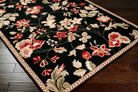 Surya Flor Rectangular Black Area Rug