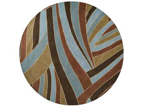 Surya Forum 8' Round Dark Brown, Teal & Camel Area Rug