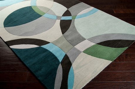 Surya Forum Square Dark Green, Ivory & Black Area Rug