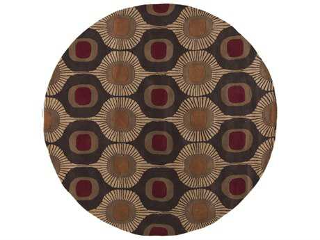 Surya Forum Round Dark Brown, Camel & Burnt Orange Area Rug