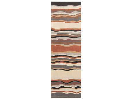 Surya Forum Rectangular Tan, Khaki & Rust Runner Rug