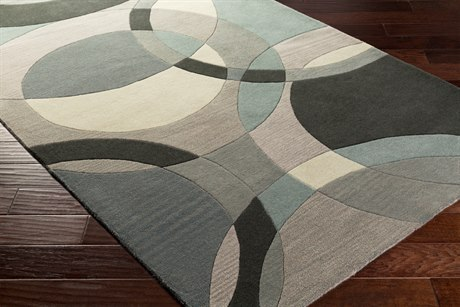Surya Forum Rectangular Khaki, Teal & Charcoal Area Rug