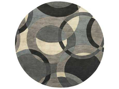 Surya Forum Round Khaki, Teal & Charcoal Area Rug