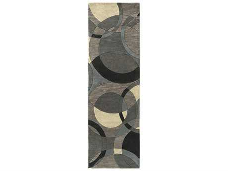 Surya Forum Rectangular Khaki, Teal & Charcoal Runner Rug