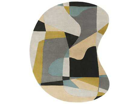 Surya Forum Kidney Olive, Teal & Medium Gray Area Rug