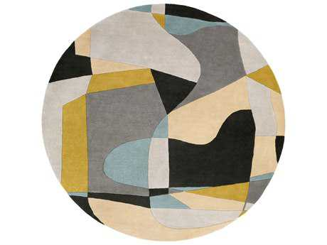 Surya Forum Round Olive, Teal & Medium Gray Area Rug