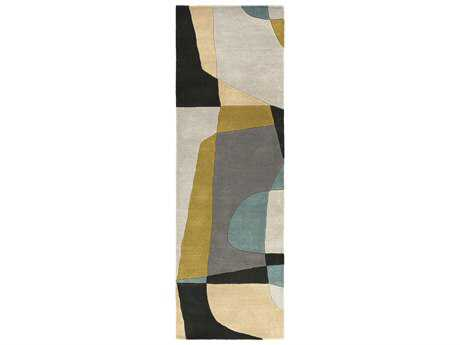 Surya Forum Rectangular Olive, Teal & Medium Gray Runner Rug